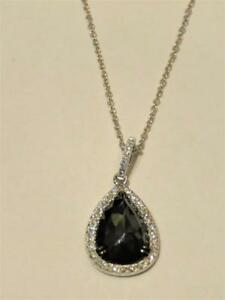 LAST CALL $3600 MAGNIFICENT 14KT GOLD LARGE BLACK DIAMOND PENDANT NECKLACE