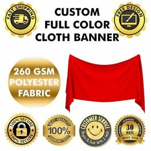 5' x 3' Custom Polyester Fabric Cloth Banner Outdoor DOUBLE STITCHED Poster Sign