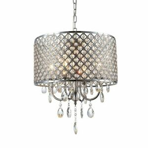 mirrea Crystal Chandelier Pendant Light 4 Lights with Crystal Beaded Drum Chrome