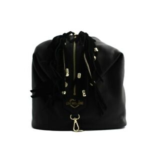Bag Backpack Love Moschino Woman Black Real Leather with Fringe