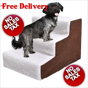 Padded Pet Stairs 3 Steps Ramp Ladder for Dogs Portable with Cover Older Ailing