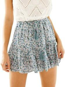 Miessial Women's High Waist A Line Mini Skirt Pleated Ruffle Cute Beach Short