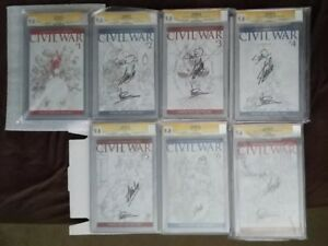 Civil War Complete SetSketch Covers CGC 9.8 Signedby Stan Lee Vines