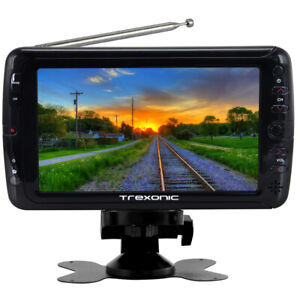 New Trexonic Portable Ultra Lightweight Rechargeable Widescreen 7 LED TV with SD