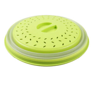 Fridge Microwave Food Plate Cover Steam Vent Splatter Lid Collapsible Yellow