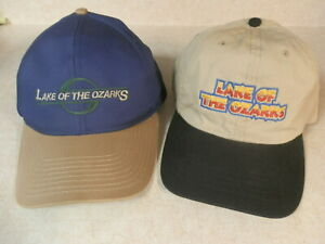 LOT of 2 Vintage LAKE Of The OZARKS Missouri Embroidered Hats Boat Fishing Caps