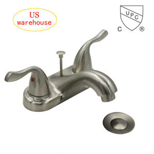 Deck Mounted Bathroom Basin Sink Faucet Brushed Nickel w Rod Pop-up Drain