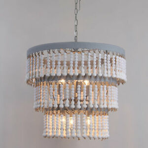 6-Light Ceiling Pendant Light 3-Tier White Wooden Bead&Gray Embossed Metal Band