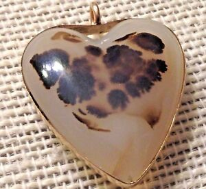 HTF SOLID 14K GOLD DENDRITIC AGATE Pendant Heart Leopard Spotted Quartz 8g OOAK