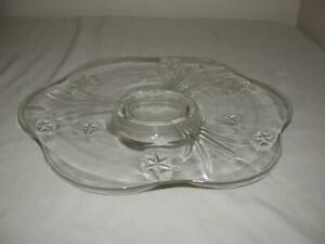 FLOWER SHAPED CLEAR GLASS FOOTED CAKE PLATE WITH STARS
