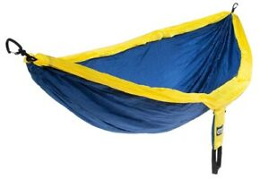 ENO Double nest outdoor hammock navy blue - yellow  2 persons  286 x 189 cm ...
