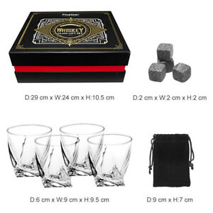 4X Whiskey Scotch Glasses With Whisky Stones Lead-Free 10-Ounce Tumbler Glasses