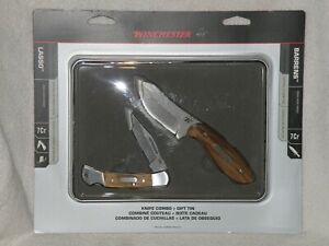 Winchester Knife Combo w Gift Tin Barrens Fixed Blade amp; Lasso Folding Pocket NIP