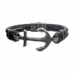 Men#x27;s Black Antiqued Double Leather Anchor Bracelet