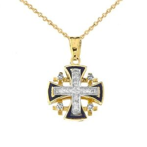 Solid Gold 10K Diamond Jerusalem Cross Pendant Necklace in ( YellowWhiteRose)