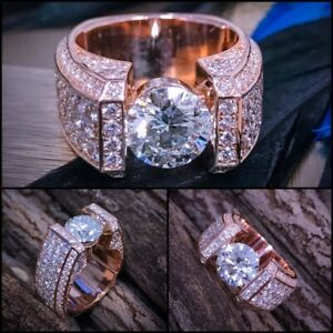 2 Carats Moissanite Customized Men's Solitaire Ring In Rosegold Plated