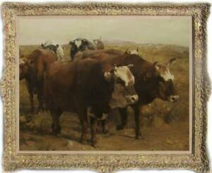 Hand-painted Old Master-Art Antique Oil Painting Portrait cow on canvas 30X40