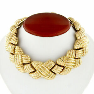 Vintage Nuovi Gioielli 18k Gold Large Ribbed Hammered Finish Statement Necklace