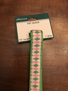 2019 MASTERS 72 Inch Augusta National Dog Pet Leash White Pink Green  - flag