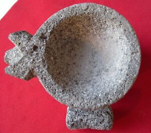Mexican PIG Face SMALL MINI Lava Rock Molcajete and Pestle - 1/2 CUP