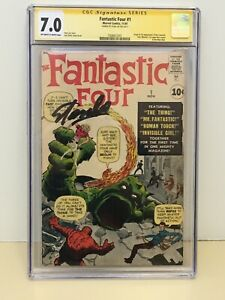 CGC 7.0 Fantastic Four 1 ow - white pages Stan Lee Signature Marvel comics 1961