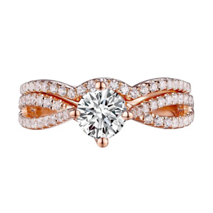 14K Rose Gold Criss Cross Design Diamond Bridal Set