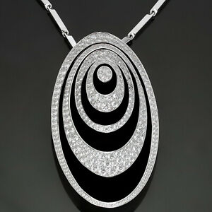 Magnificent CARTIER Hypnose Diamond Black Ceramic 18k White Gold Brooch Necklace