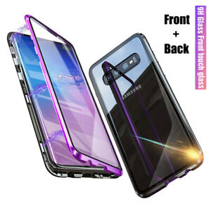 For Samsung Galaxy S10  Plus Magnetic Adsorption Full Tempered Glass Case Cover