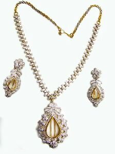 14K GOLD CHANGEABLE COLOR STONE DESIGNER LINE DIAMOND NECKLACE SET