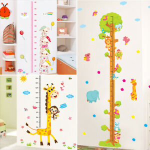 Removable Height Chart Measure PVC Cartoon Growth Wall Sticker Kids Room Decor