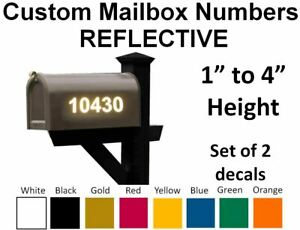 SET OF 2 Custom Mailbox Numbers REFLECTIVE Vinyl Decals Stickers House