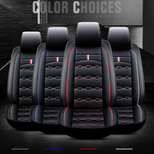 5-Seat PU Leather Car Seat Cover Protector+Cushion Front & Rear Full Set
