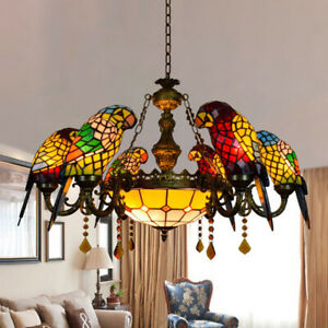 Tiffany Pendant Light Stained Glass 6 Parrots Ceiling Chandelier Hanging Lamp