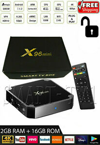 X96 Mini 4K Android 7.1.2 Nougat WiFi Smart TV Box with KD 17.6 1G8G S905W US