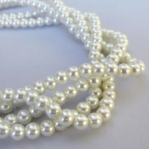 White Imitation Pearl Beads 6mm Bulk Glass Pearl Beads G2540 150 300 Or 600PCs