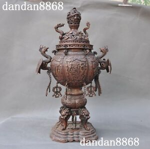 Old Chinese purple copper phoenix goldfish Dragon Dragons Incense Burner Censer