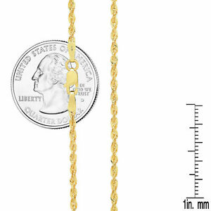 10k Yellow Gold Light 2mm Diamond Cut Rope Chain Pendant Necklace 16 24