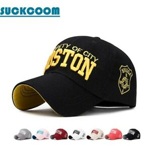 Men Cotton BOSTON Letter Embroidery Baseball Cap Women Casual Snapback Hats