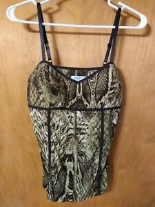 Cache Small Petite cami adjustable strap Top Green Tropical Gold Snake Stretch