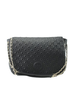 Tory Burch Marion Flap Black Leather Shoulder Bag