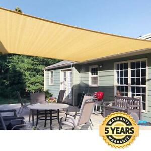 Quictent 185G HDPE Square Sun Shade Sail 98% UV Block Patio Cover 20x20FT Sand