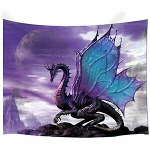 Medieval Fantasy Theme Wall Art Home Decor, Purple Dragon Tapestry Hanging For