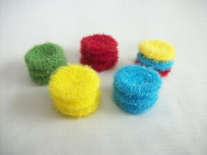 Crochet Dish Scrubby SET Double-Thick Scrubber Machine Wash *Choose Color*3 1/2