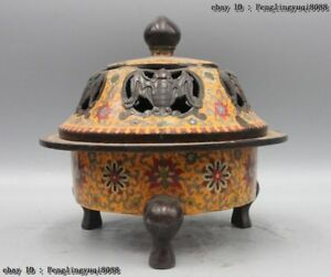 Chinese Buddhism Bronze Copper Cloisonne Enamel Bat Flower Incense Burner Censer
