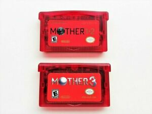 Mother 1 + 2 + 3 Cartridge Set - (English) GBA Game Boy Earthbound (USA) Red