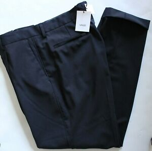 NWT Mens Vince Crop Relaxed Fit Wool Blend Navy Blue Dress Pants 3227 $275