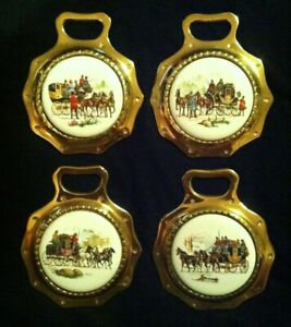 SET OF 4 Vintage FOUR-IN-HAND HORSE & CARRIAGE Porcelain Brasses WOW YOUR WALLS!