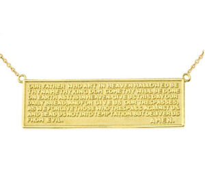 Gold Two Sided The Lord's Prayer & Cross Bar Necklace In (Yellow White Rose)