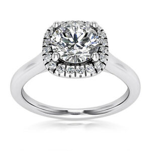 Halo Pave .60 Carat VS2H Round Cut Diamond Engagement Ring White Gold