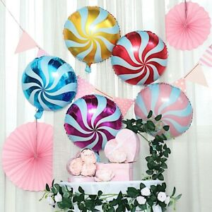 5 ASSORTED 13quot; wide Swirl Lollipop Candy Mylar Foil Wedding Event Party Balloons